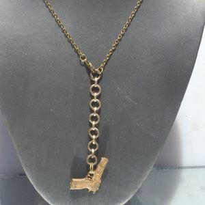 Brass Gun Rifle Necklace Pendant Boho Handmade